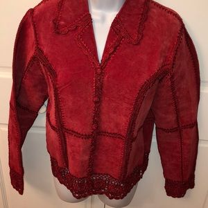 BAGATELLE RED SUEDE & LACE JACKET S